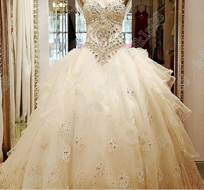 Luxury Beaded Crystal Organza Empire Sweetheart Strapless Wedding ...